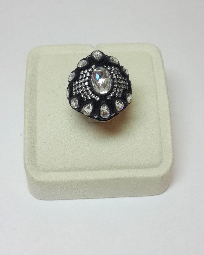 elmas montürlü gümüş yüzük